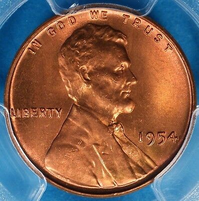 1954 Lincoln Wheat Cent PCGS MS66RD- Exceptional Bright Red Gem