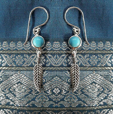 485 Turquoise feather earring solid 925 sterling silver rrp$39.95