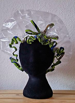 Handmade Clear Shower Cap with Bow and Green and Blue African Print Trim