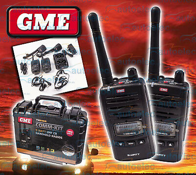 Gme Tx6155Tp Comm-Kit Twin Pack 5W Waterproof Hand Held Uhf Cb Radios Pack New