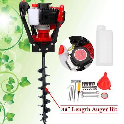 """Earth Post Hole Digger 56cc One Man Gas 2 Stroke Auger Machine w/6"""" Auger Bits"""
