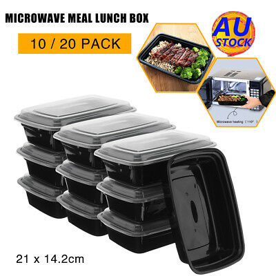 AU 10x/20x Microwave Plastic Meal Prep Container Lunch Box Food Storage Takeaway
