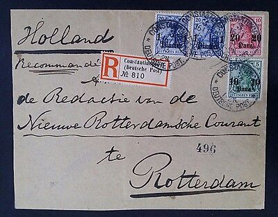 VERY RARE 1913 Turkey (German Post) Registd Cover ties 4 Germania stamps w surch