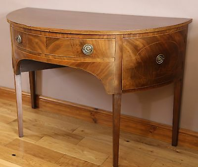 Superb Antique 19th Century String Inlaid Mahogany Demi-lune Sideboard