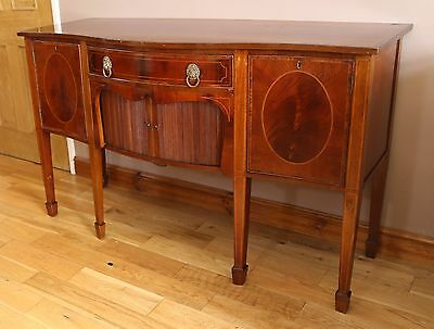 Antique George III Rosewood Crossbanded and Mahogany Serpentine Front Sideboard