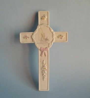 Precious Moments CROSS, O Worship The Lord Wall Cross, CROSSES, Bisque Ceramic