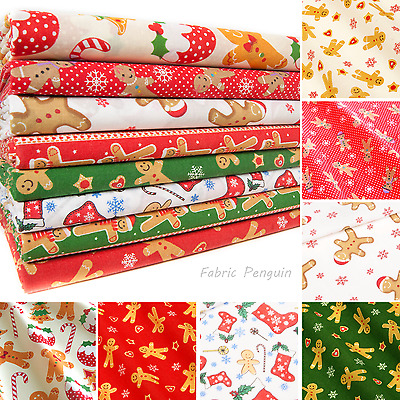 Christmas Gingerbread Man Fabric Polycotton By The Metre Fat Quarters Red Green