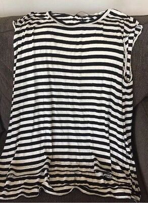 Sportsgirl Black And White Stripe Sleeveless Top - size XS/S, suit size 12-14