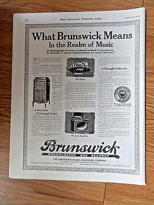 1920 Brunswick Phonographs & Records Ad