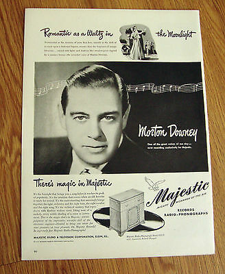 1946 Majestic Radio Phonograph Ad Singer Morton Downey
