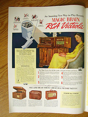 1941 RCA Victrola Radio Phonographs Ad Magic Brain