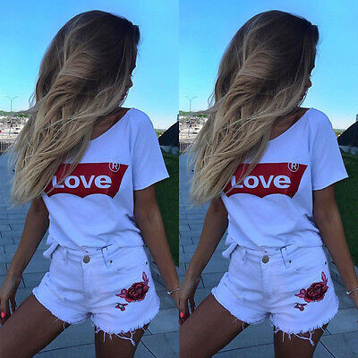 Fashion Women Casual Short Sleeve Loose Summer Cotton T-shirt Tops Shirt Blouse