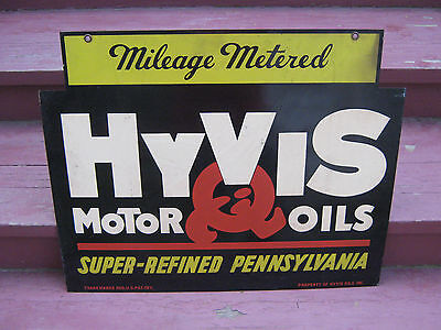 Hyvis Motor Oils Metal Double Sided Hanging Sign