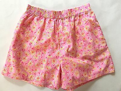 Lilly Pulitzer Pink Daisy Elastic Waist Shorts Pockets Beach Cover-up Girls 14