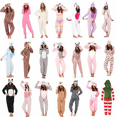 Ladies/Girls Fleece All In One Loungewear Pyjamas Outfit Costume Hood Size 8-22