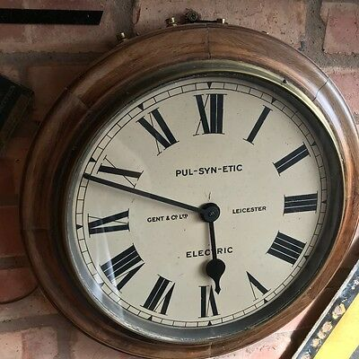 Walnut Clock, Gent Of Leicester Railway Factory Industrial with programmer Rare