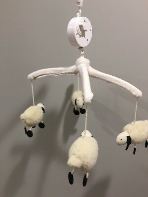 Pottery Barn Mobile Sheep with White Wooden Arm
