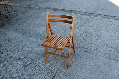 Vintage Industrial Folding Wooden Cafe Bistro Chairs