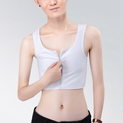 New Chest Binder Tops Sleeveless Vest Solid Color Front Zipper Crop Top Clothing