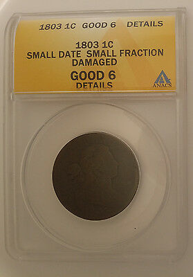 1803 US Large Cent Small Date Small Fraction G-6 Details Damaged