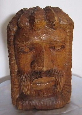 Hand Carved Wood Male African Bust Jesus? Reggae? solid wooden statue