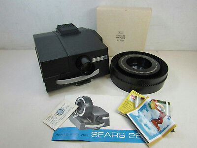 Vintage Sears 26 Slide Projector With Carousel Adaptor Sprocket & Manual