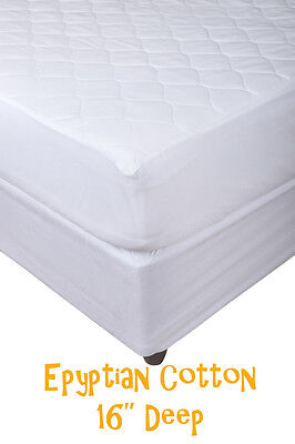 EXTRA DEEP 100% EGYPTIAN COTTN QUILTED MATTRESS PROTECTOR FITTED COVER All SIZES