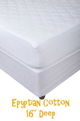 """Hypoallergenic Extra Deep Egyptian Cotton Quilted Mattress Protector - 16"""" Deep"""