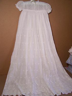 Antique long Baby gown Christening embroidered