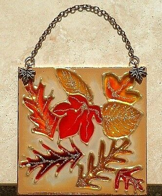 Harvest Fall Autumn Thanksgiving Leaf Suncatcher Stain Glass Wall Hanging Decor