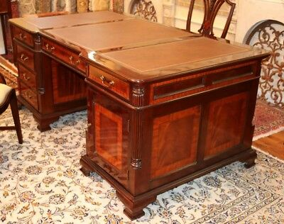 Superb 3 Piece Satinwood Inlaid Mahogany Leather Top Partners Executive Desk