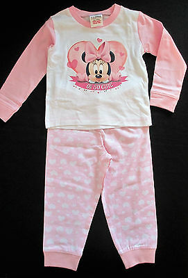Baby Girls Pink & White Minnie Mouse Pyjamas 12-18 & 18-24 months