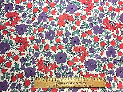 Vintage Cotton Fabric 30s40s Red Purple Floral 35w 1yd