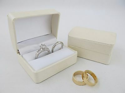 Bride & Groom Ring Box Off White Ivory Cream Double Wedding Ring Bearer Box
