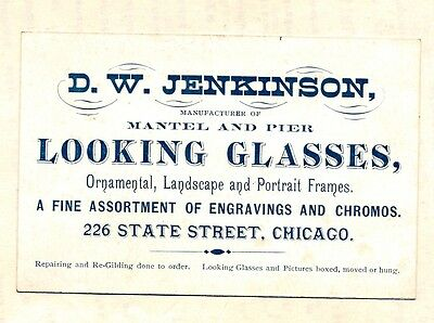 1870's Advertising Card D W Jenkinson Looking Glasses Engraving Chicago Illinois