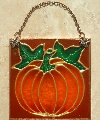 Harvest Fall Autumn Thanksgiving Pumpkin Suncatcher Stain Glass Halloween Decor