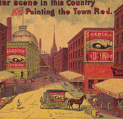 Soapine Painting the Town Red 1800's Whale Soap Victorian Advertising Trade Card