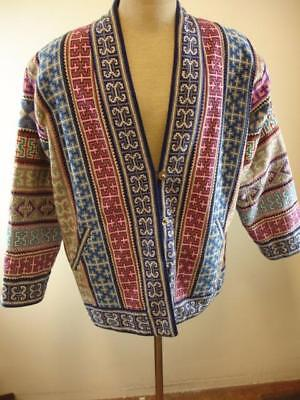 Mens M Womens L XL Tibetan Hill Tribe Handmade Embroidered Jacket Reversible Art