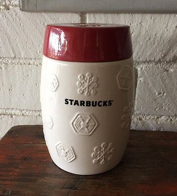 Starbucks 2011 Canister Cookie Jar Red White Snowflake Collector Christmas
