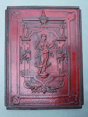 """Signed Antique Cast Iron Decorative Architectural Panel Lady Justice 16"""" Red"""