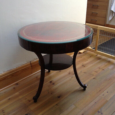 Regency Style Round Table  Leather  and Glass Topped