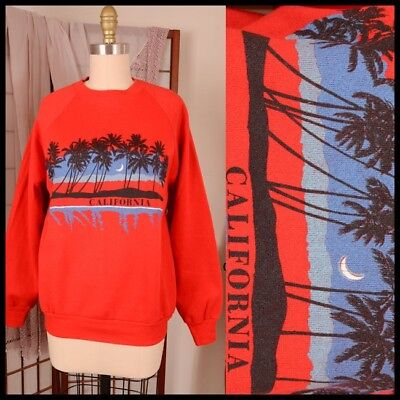 vtg 80s CALIFORNIA palm tree OCEAN moonlit beach SWEATSHIRT surf skateboard M