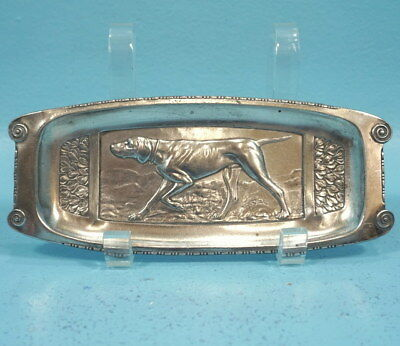 Antique Swiss Art Nouveau Silver Vide Poche Tray Dish Hunting Dog Relief c1910