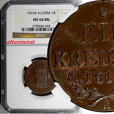 Austria Copper 1816 B 1 Kreuzer NGC MS64 BN Nice Coin Some Red Toning KM# 2113