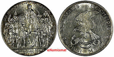 German States PRUSSIA Silver 1913 3 Mark 100 Years Defeat of Napoleon KM# 534