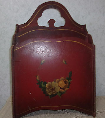 Vintage Wooden Divided Magazinr Rack Painted Flowers