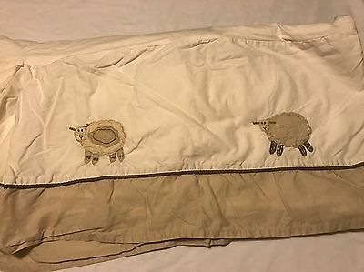 Pottery Barn Kids Crib Skirt Lambs Boy girl Neutral Tan Brown