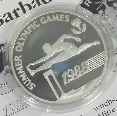 Barbados 1988 Unc Summer Olympic Sterling Silver Coin 1 Year Type Mintage 15,000