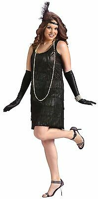 Womens Flapper Costume Black 1920s Roaring 20s Fancy Dress XL 16-22 Plus Size