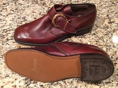Men's Vintage New Old Stock Jarman Brown Buckle Stitched Sole Dress Shoes Size 8